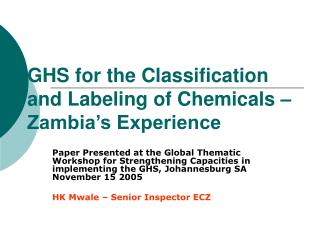 GHS for the Classification and Labeling of Chemicals   Zambia s Experience