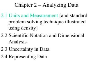 Chapter 2 – Analyzing Data