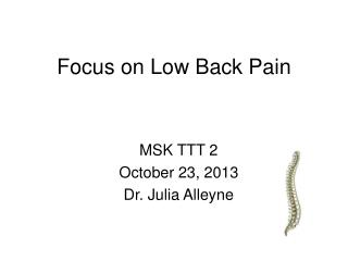 Focus on Low Back Pain
