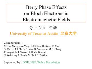Berry Phase Effects  on Bloch Electrons in Electromagnetic Fields