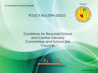 Guidelines for Required School and Central Advisory Committees and School Site Councils