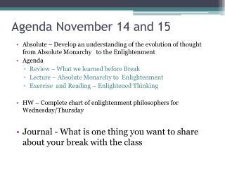 Agenda November 14 and 15