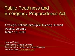 Public Readiness and Emergency Preparedness Act