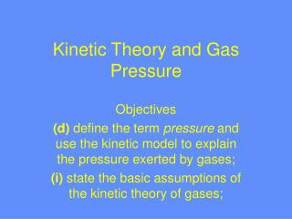Kinetic Theory and Gas Pressure