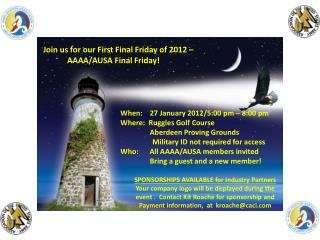 When:     27 January 2012/5:00  pm – 8:00 pm Where:   Ruggles  Golf Course