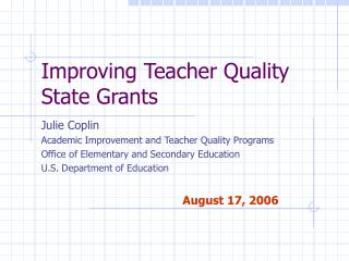Improving Teacher Quality State Grants