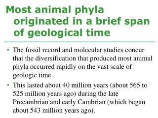 Most animal phyla originated in a brief span of geological time