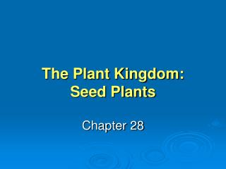 The Plant Kingdom: Seed Plants