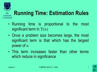 Running Time: Estimation Rules