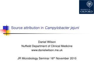 Source attribution in  Campylobacter jejuni