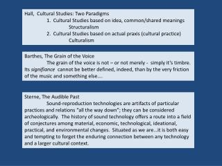 Hall,  Cultural Studies: Two Paradigms