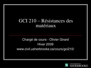 GCI 210 � R�sistances des mat�riaux