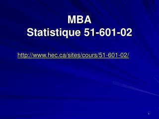 MBA Statistique 51-601-02
