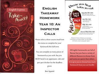 English Takeaway Homework Year 10: An Inspector Calls