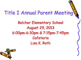 Title I Annual Parent Meeting