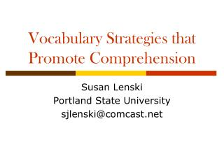 Vocabulary Strategies that Promote Comprehension