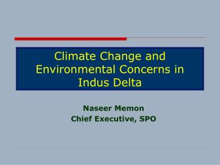 Climate Change and Environmental Concerns in Indus Delta