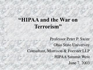 """HIPAA and the War on Terrorism"""