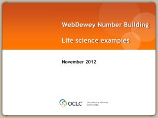 WebDewey  Number Building Life science examples