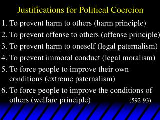 Justifications for Political Coercion