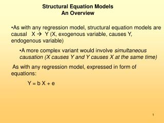 Structural Equation Models An Overview