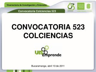CONVOCATORIA 523 COLCIENCIAS