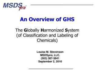 Louisa M. Stevenson MSDS pro , LLC. (503) 387-3841 September 2, 2010