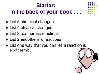 Starter:  In the back of your book . . .