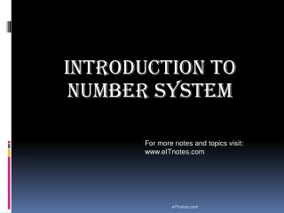 Introduction to Number System