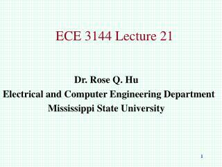 ECE 3144 Lecture 21
