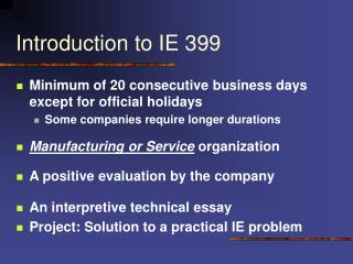 Introduction to IE 399