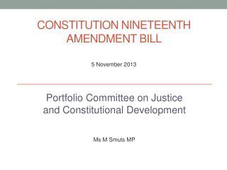 Constitution  Nineteenth Amendment Bill