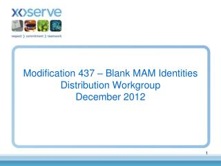 Modification 437 – Blank MAM Identities Distribution Workgroup December 2012