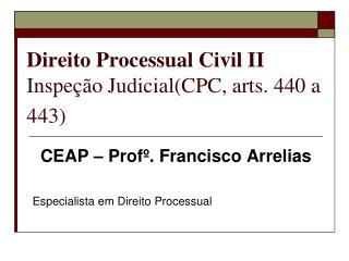Direito Processual Civil II Inspeção Judicial(CPC, arts. 440 a 443)