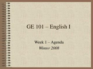 GE 101 � English I
