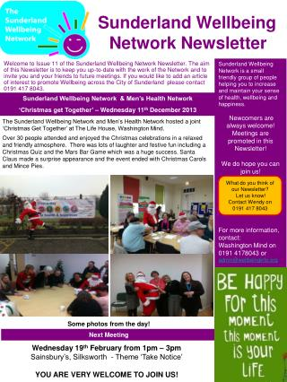 Sunderland Wellbeing                     Network Newsletter