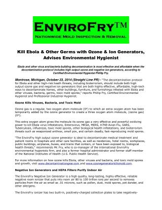 Kill Ebola & Other Germs with Ozone & Ion Generators, Advise