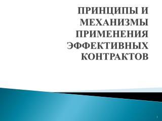ПРИНЦИПЫ И МЕХАНИЗМЫ ПРИМЕНЕНИЯ ЭФФЕКТИВНЫХ КОНТРАКТОВ