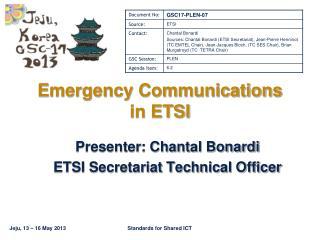 Emergency Communications in ETSI