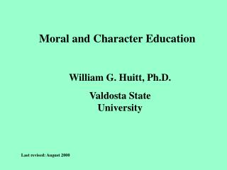 Moral and Character Education