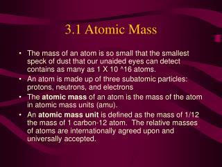 3.1 Atomic Mass