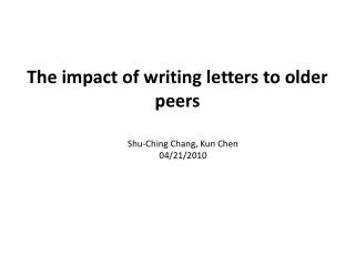 The impact of writing letters  to older peers