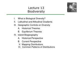 Lecture 13 Biodiversity