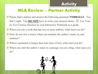 MLA Review ~ Partner Activity