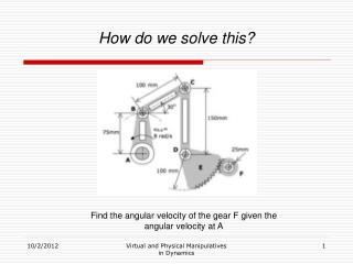 Find the angular velocity of the gear F given the angular velocity at A