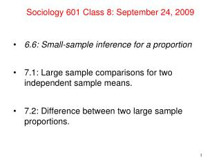 Sociology 601 Class 8: September 24, 2009