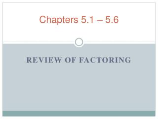 Chapters 5.1 – 5.6
