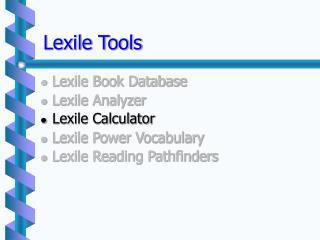 Lexile Tools