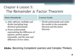Chapter 6 Lesson  5: The Remainder  &  Factor Theorem