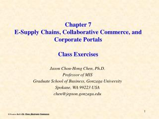 Chapter 7 E-Supply Chains, Collaborative Commerce, and Corporate Portals Class Exercises